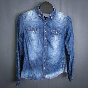 Highway Jeans Top Shirt Size Medium Blue Womens